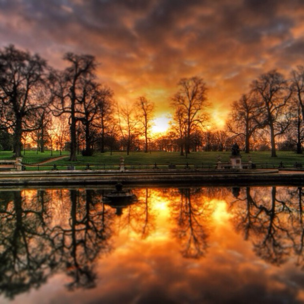 Hyde Park, London at sunrise